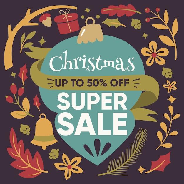 Kerst super verkoop in plat design Gratis Vector