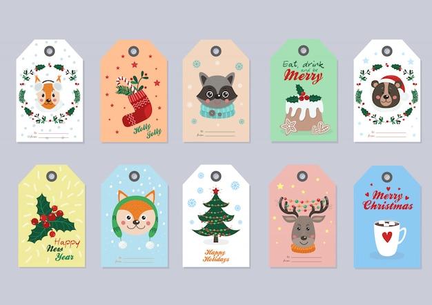Kerst tags instellen met dieren in het bos Premium Vector
