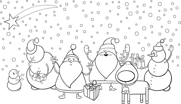 Kleurplaten Nieuwjaar En Kerstmis.Kerst Tekens Kleurplaat Vector Premium Download