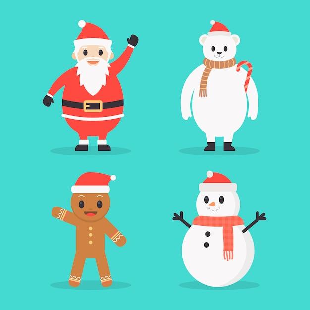 Kerst tekensverzameling in plat ontwerp Gratis Vector