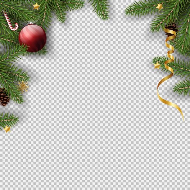 Kerst transparant frame achtergrond Premium Vector