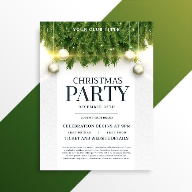 Kerst vakantie partij flyer ontwerpsjabloon Gratis Vector