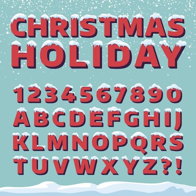 Kerst vakantie vector lettertype. retro 3d letters met sneeuw caps. kerst lettertype met sneeuw en ijs, abc en cijfer illustratie Premium Vector