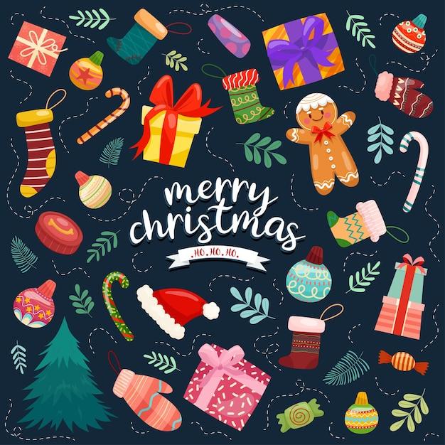 Kerst vector iconen nieuwjaar decoratie illustratie van xmas christenen Gratis Vector