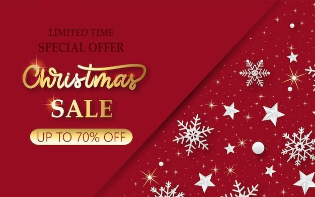 Kerst verkoop banner met glanzende sneeuwvlokken en sterren. Premium Vector