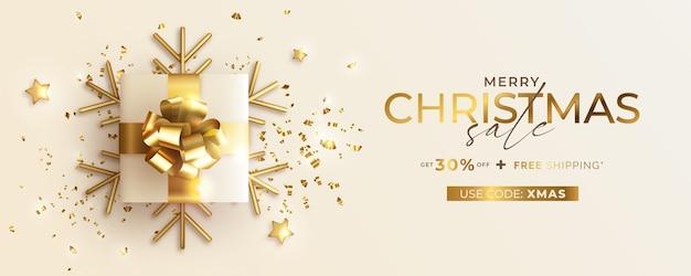 Kerst verkoop banner met realistische cadeautjes Gratis Vector