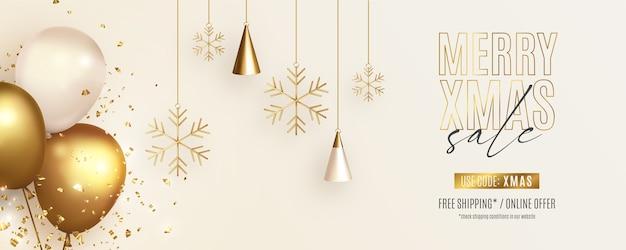 Kerst verkoop banner met realistische ornamenten en ballonnen Gratis Vector