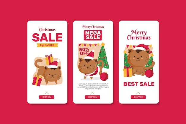 Kerst verkoop banner set Premium Vector