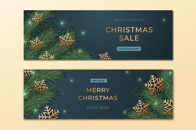 Kerst verkoop banners sjabloon Gratis Vector
