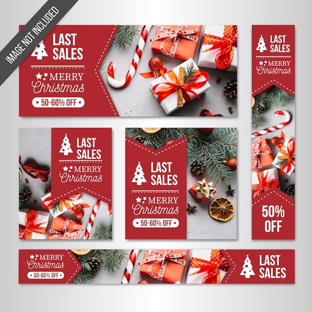 Kerst verkoop banners web Gratis Vector
