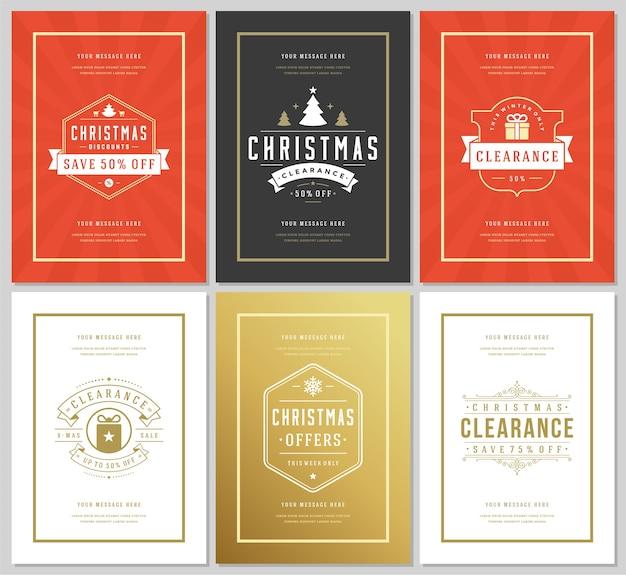 Kerst verkoop flyers of banners instellen kortingsaanbiedingen en sneeuwvlokken patroon achtergrond met sierlijke decoratie. vintage typografie etiketten ontwerpsjablonen. Premium Vector