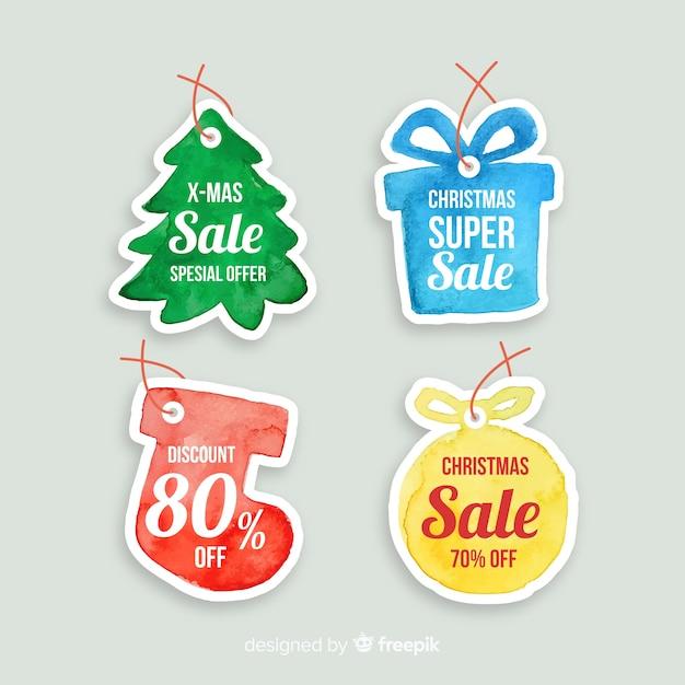 Kerst verkoop hand getrokken label Gratis Vector