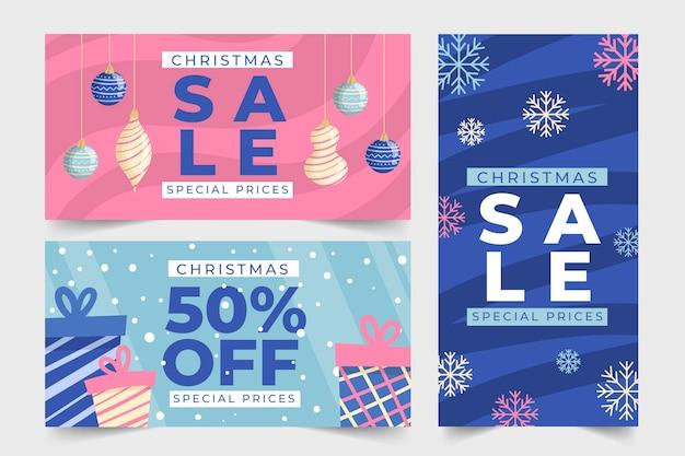 Kerst verkoop handgetekende banners Gratis Vector