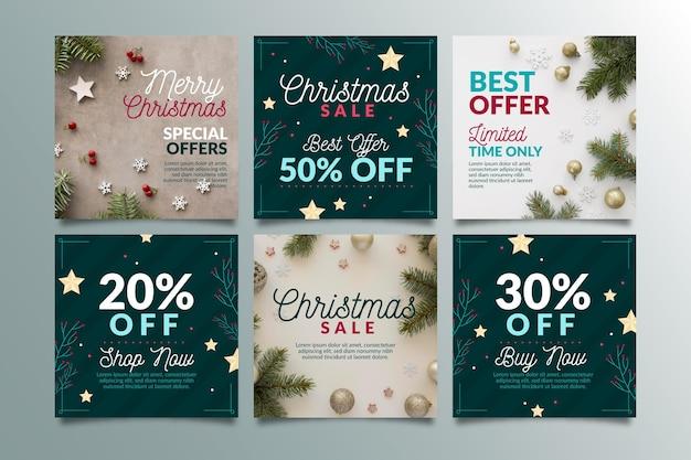 Kerst verkoop instagram-berichten Premium Vector