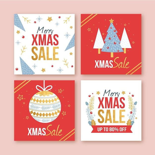Kerst verkoop instagram-berichten Gratis Vector