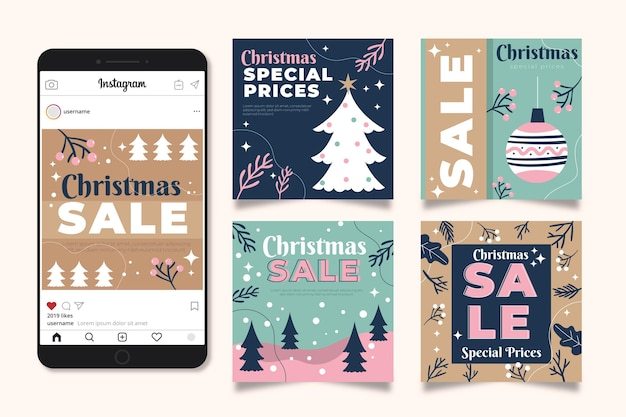 Kerst verkoop instagram post collectie Gratis Vector