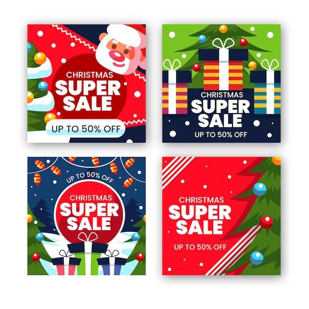 Kerst verkoop instagram post collectie Gratis Vector