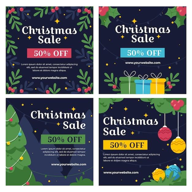 Kerst verkoop instagram post collectie Premium Vector