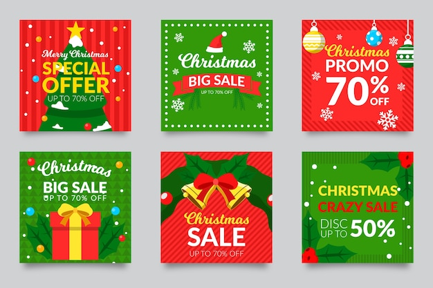 Kerst verkoop instagram post set Gratis Vector
