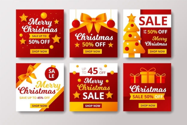 Kerst verkoop instagram post set Gratis Vector