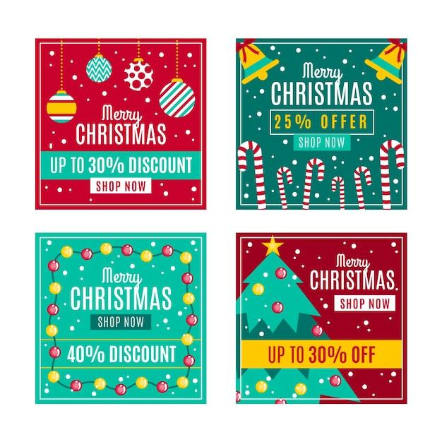 Kerst verkoop instagram postpakket Gratis Vector