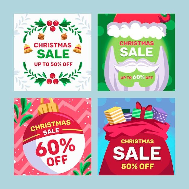Kerst verkoop instagram postsjabloon Premium Vector