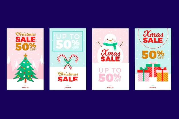 Kerst verkoop instagram verhaalset Gratis Vector