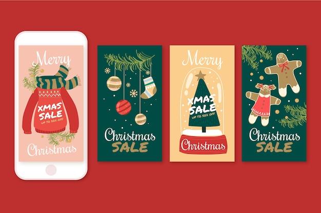 Kerst verkoop instagram verhalen Gratis Vector