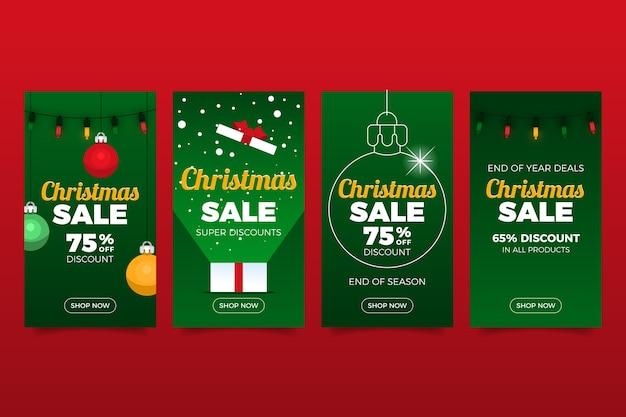 Kerst verkoop instagram verhalencollectie Gratis Vector