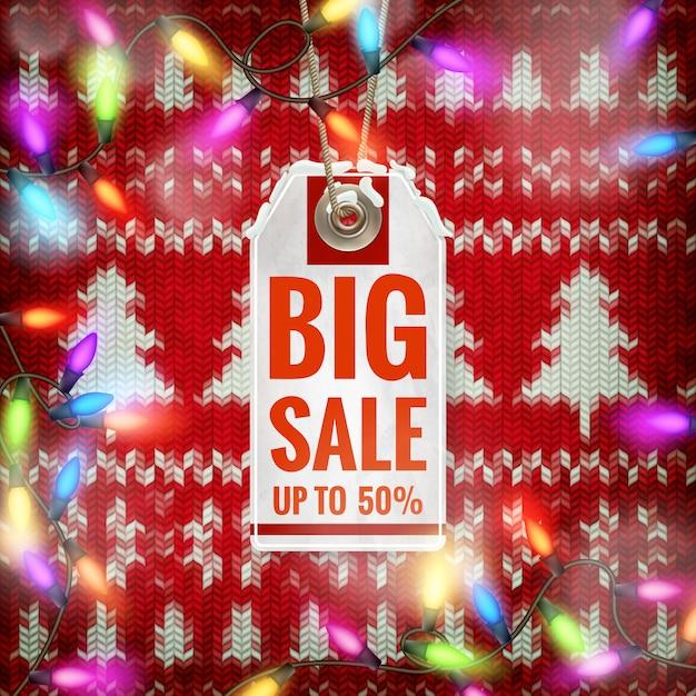 Kerst verkoop op gouden achtergrond. Premium Vector