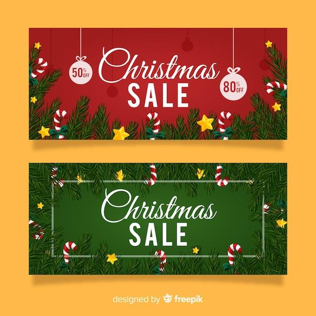 Kerst verkoop pine takken banner Gratis Vector