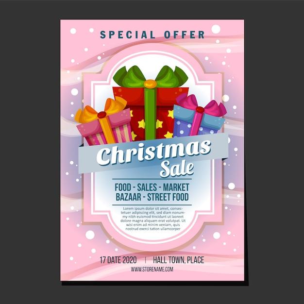 Kerst verkoop poster of folder sjabloon met sneeuw textuur thema geschenkdoos aanwezig Premium Vector