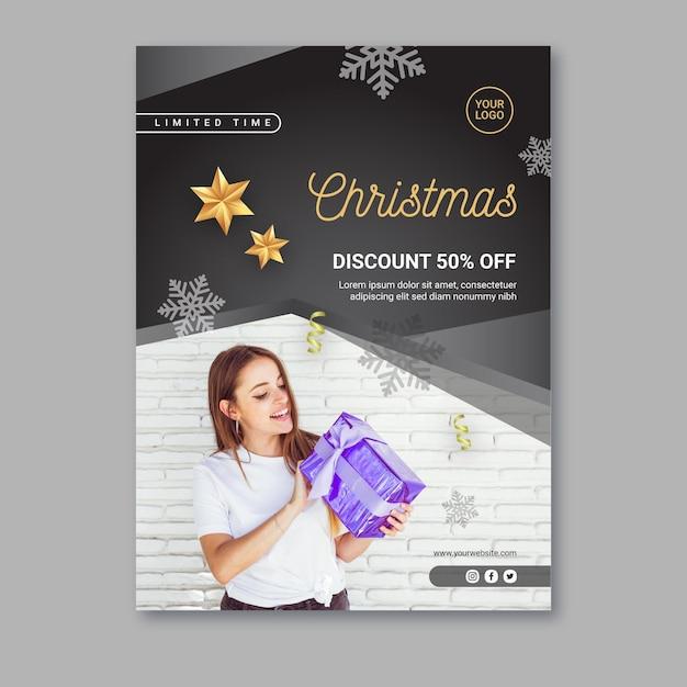 Kerst verkoop poster sjabloon Gratis Vector