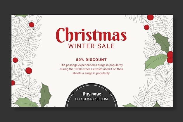 Kerst verkoop sjabloon banner Gratis Vector