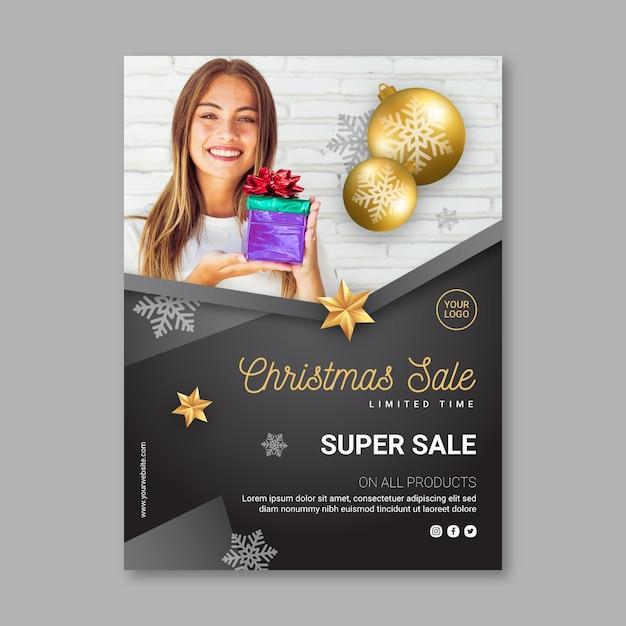 Kerst verkoop sjabloon folder Premium Vector