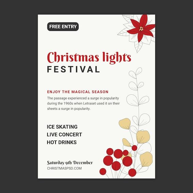 Kerst verkoop sjabloon poster Gratis Vector