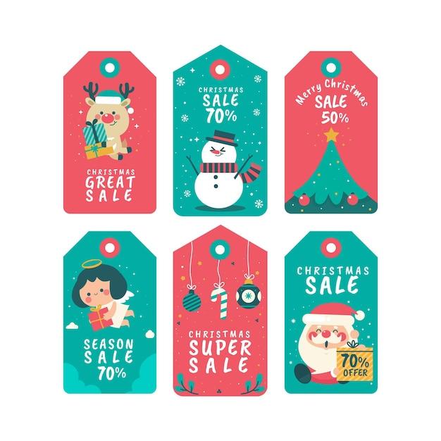 Kerst verkoop tag collectie in plat design Gratis Vector