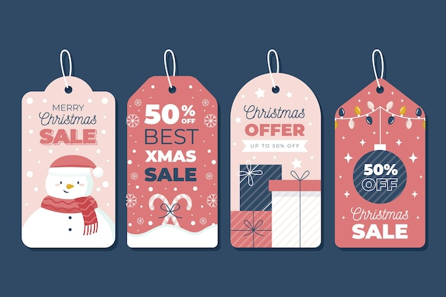 Kerst verkoop tag collectie in plat design Premium Vector