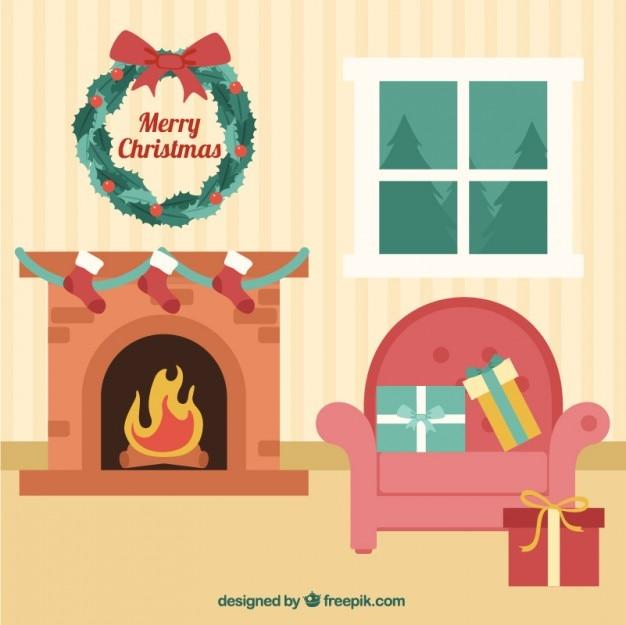 Kerst versiering van de zaal vector gratis download - Versiering van de zaal van het tienermeisje van ...
