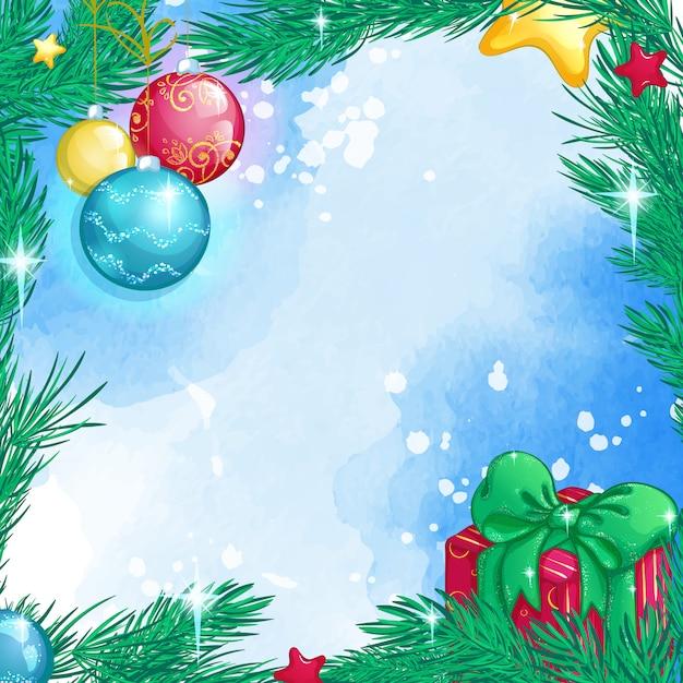 Kerst vierkante achtergrond met kerstboom takken, glazen bollen, geschenkdoos Premium Vector