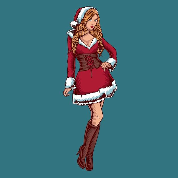 Kerst vrouw vector Premium Vector
