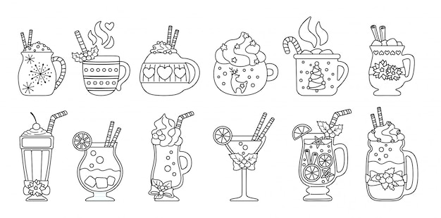 Kerst warme drank lijn set. zwarte lineaire platte cartoon verschillende dranken. vakantie schattige mokken warme chocolademelk, koffie, melk en glühwein. nieuwjaar drankjes gedecoreerde hulst, snoep. illustratie Premium Vector
