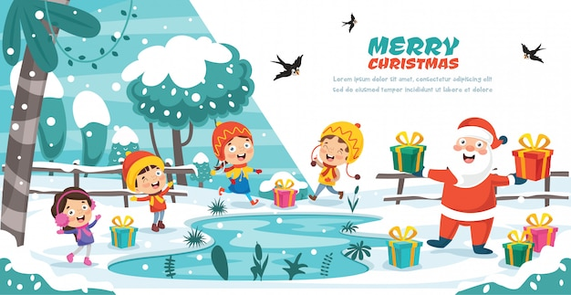 Kerst wenskaart ontwerpen met stripfiguren Premium Vector
