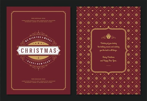 Kerst wenskaart ontwerpsjabloon Premium Vector