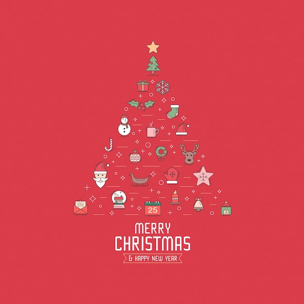 Kerst Wenskaart Uitnodiging Of Achtergrond Kerst Elementen Modern