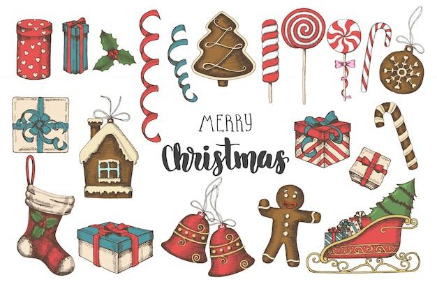 Kerst wenskaart veelkleurige hand getrokken objecten instellen. Premium Vector