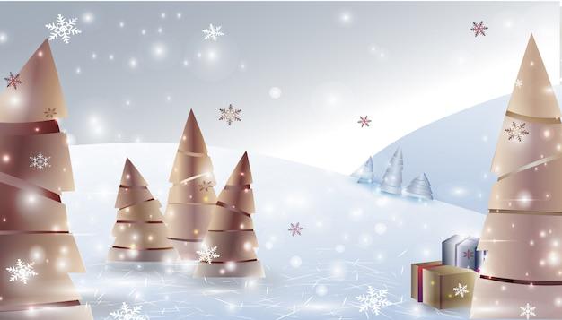 Kerst winter landschap achtergrond met kerstbomen, geschenken, sneeuwvlokken Premium Vector