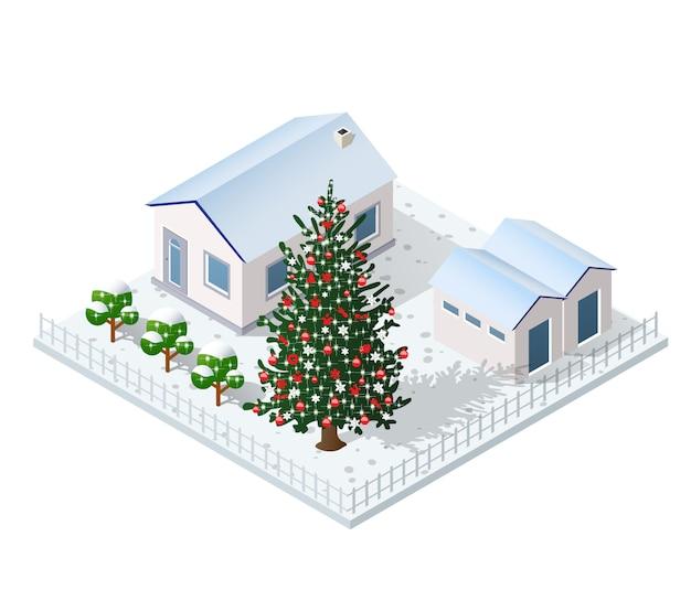 Kerst winter stad grafische vakantie Premium Vector
