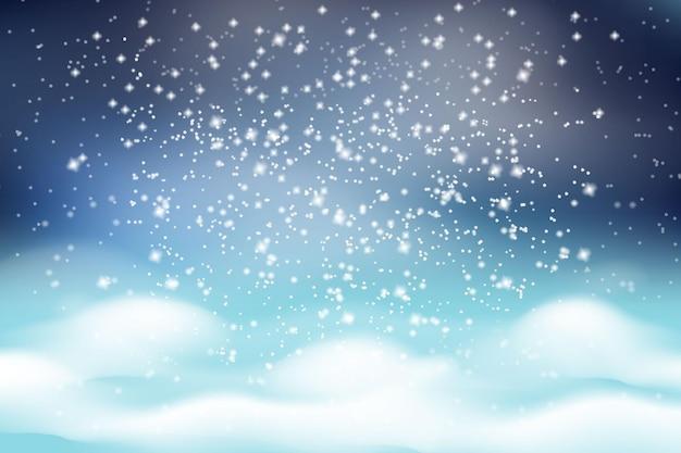 Kerst winterlandschap. vallende witte sneeuw op een achtergrond van witte pluizige sneeuwbanken en een donkere ijzige lucht. Premium Vector