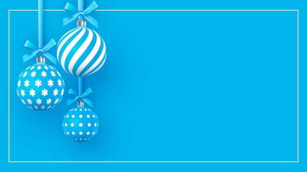 Kerst zacht blauwe kerstballen met geometrische patronen Premium Vector